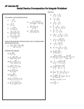 Partial Fraction Decomposition Worksheet for Integrals - A