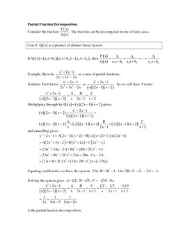 Partial Fractions Examples + Practice