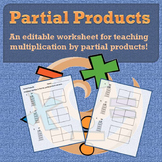 Partial Products Worksheets for Teaching Multiplication by