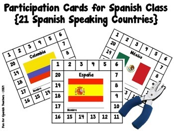 Participation Punch Cards for Spanish Class {Freebie}