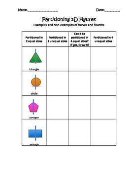 Partitioning 2D shapes is halves and fourths- 1.6G-1st Grade Math