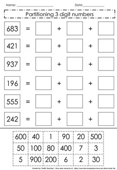 Partitioning 3 digit numbers