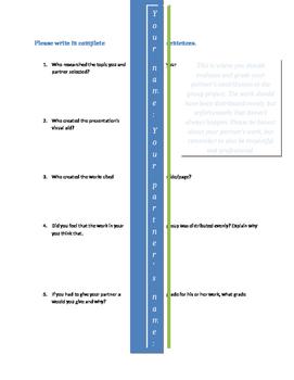 Partner Evaluation Sheet