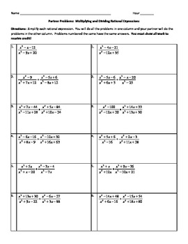 Printables Multiplying And Dividing Rational Expressions Worksheet partner problems multiplying and dividing by kristie rational expressions