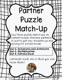 Partner Match-up Activity-Puzzle Pieces- 3 Sets!