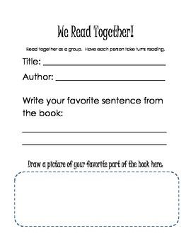 Partner Reading Response Sheet