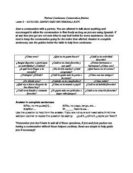 Partner conversation activity, general vocabulary (level 2)