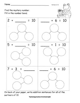 Partners of Ten Decomposing Ten Practice Pages and Additio