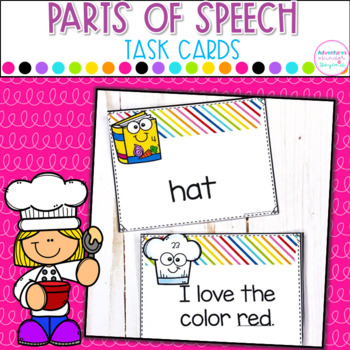 Parts Of Speech Task Cards- Identifying Nouns, Verbs and A