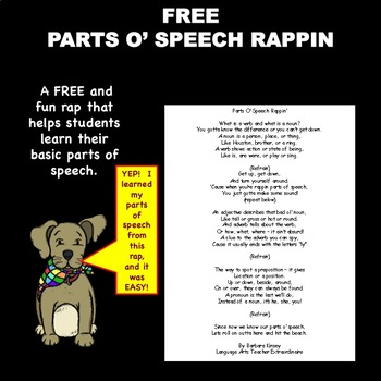 FREE Parts Ó Speech Rappiń helps students learn basic part