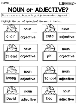 Parts of Speech Practice Sheets