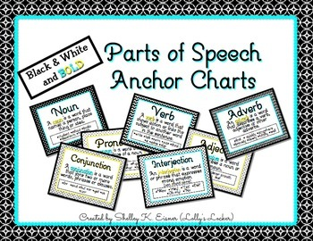 Parts of Speech Anchor Charts Black & White & Bold
