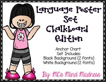 Language Poster Set Chalkboard with Melonheadz