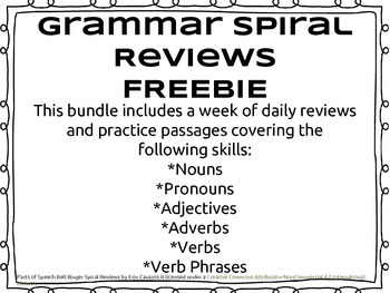 FREE - UPDATED Parts of Speech Spiral Review w/ Practice Passages
