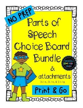 Parts of Speech Choice Boards Bundle