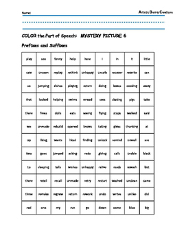 Parts of Speech: Color a Mystery Picture 6 (Prefixes and S