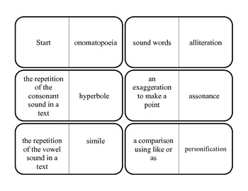Sound Device and Figurative Language Dominoes