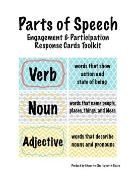 Parts of Speech Engagement and Participation Response Card