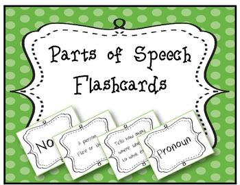 Parts of Speech Flashcards- black and white