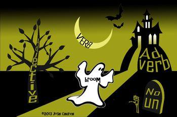 Parts of Speech Halloween Sorting Activity (adjectives, ve