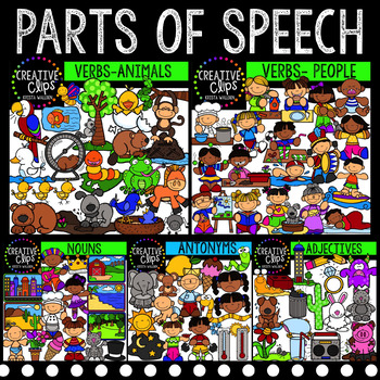 Parts of Speech Clipart MEGA Bundle {Creative Clips Clipart}