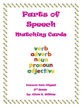 Parts of Speech Matching Game Cards