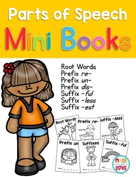Parts of Speech Mini Books: Prefixes & Suffixes