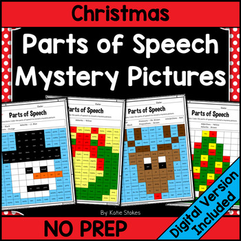 Parts of Speech Mystery Pictures - December & Christmas