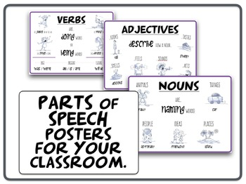 Parts of Speech - NOUNS, VERBS, ADJECTIVES classroom posters.