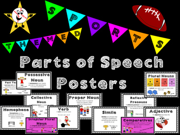 Parts of Speech Posters: sports theme