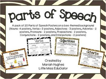 Parts of Speech Posters with Jungle Animal Print theme bac