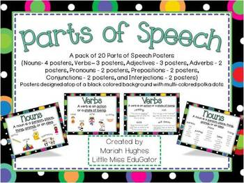 Parts of Speech Posters with Multi-Colored Polka Dots on B