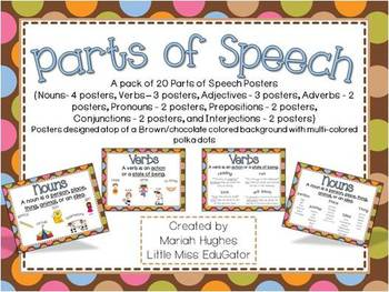 Parts of Speech Posters - Multi-Colored Polka Dots on Choc