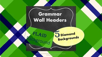 Parts of Speech Posters/Headers for Grammar Word Wall or L