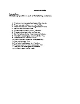 Parts of Speech - Prepositions (Answer Key Included)