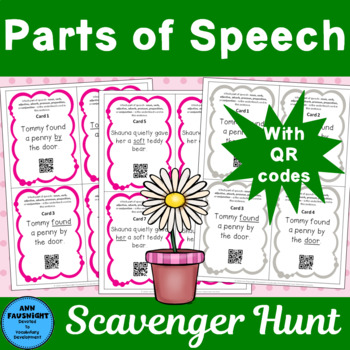 Parts of Speech Scavenger Hunt with QR Codes for self checking