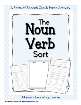 Parts of Speech Sorting Activity: The Noun-Verb Sort