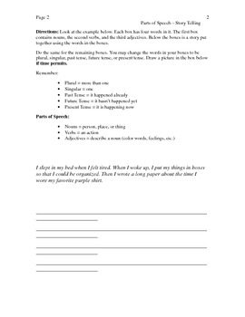 Parts of Speech - Story Telling Activity Packet Book