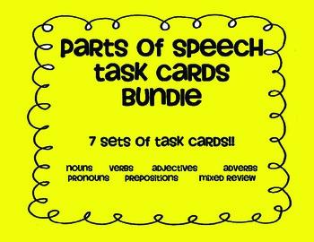 Parts of Speech TASK CARD bundle! Noun Verb Adjective Adve