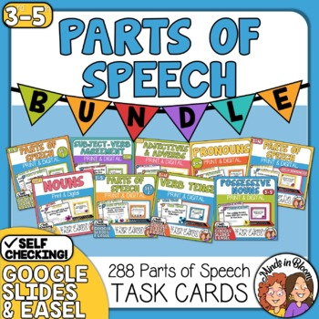 Parts of Speech Task Cards: 8 Set Bundle