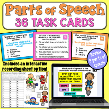 Parts of Speech Task Cards (Advanced)