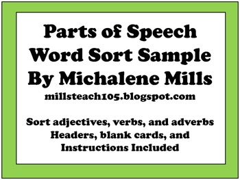 Parts of Speech Word Sort Sample Word Choice Activity