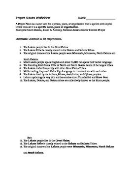 Parts of Speech/Grammar Worksheet: Proper Nouns