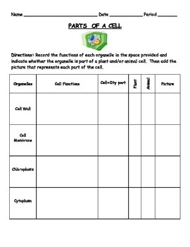Parts of a Cell - Organelles - Cell = City WORKSHEET