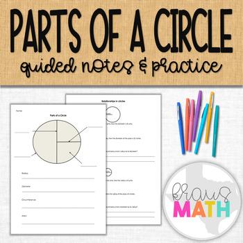 Parts of a Circle: Notes & Graphic Organizer
