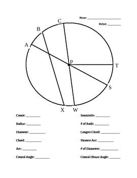 Parts of a Circle WS