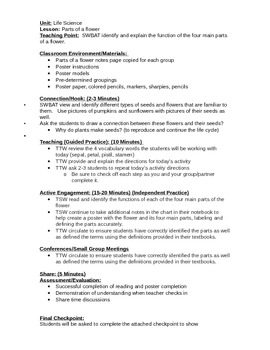 Parts of a Flower Lesson Plan and Student Project Materials