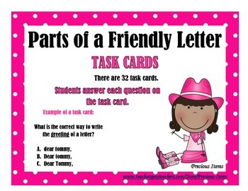 Parts of a Friendly Letter - Task Cards