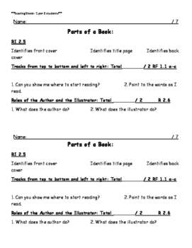 Parts of a book Assessment