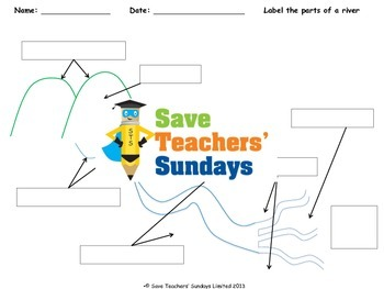 Parts of a river Lesson plan, Instructions and Worksheet
